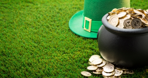 Big Pot of Gold and Hat on St. Patrick's Day